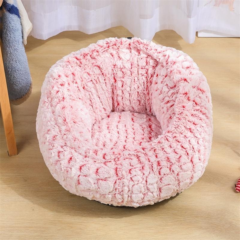 قابل للتعديل الدافئ الصوف الحيوانات الأليفة سرير بيت الكلب لينة جولة الكلب القط سماح السرير الشتاء عميق النوم حقيبة أريكة جرو وسادة المنزل القطط LJ200918