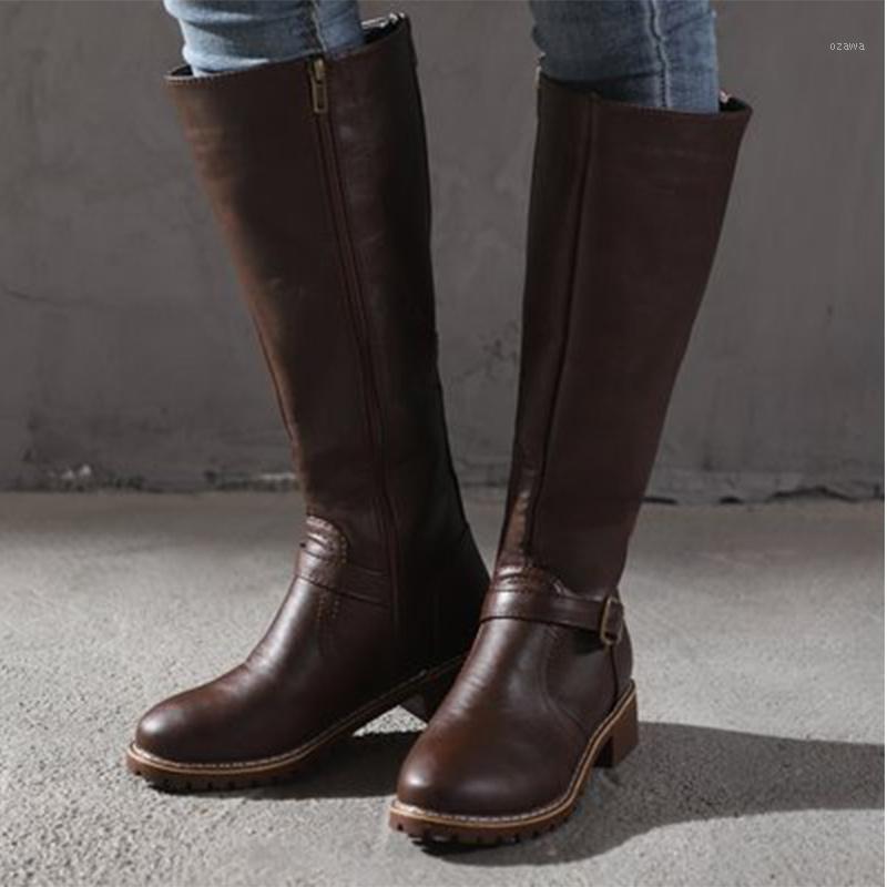 Çizmeler Kadın Toka Zip Deri Diz Yüksek 2021 Kadın Düşük Topuklu kadın Uzun Bayanlar Kaymaz Kadın Konfor Ayakkabı Artı Boyutu1