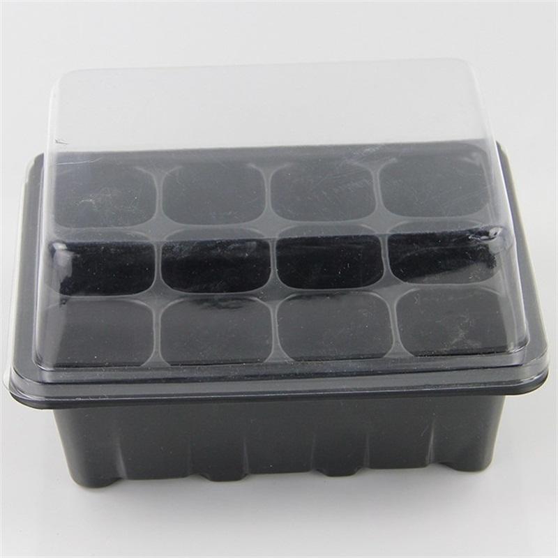 Pot de pépinière de 12 trous Noir Blanc Couleur Blanc Mini Boîte de planche en plastique de plastique de plastique pour la maison Fournitures de jardin 1 95MD E1