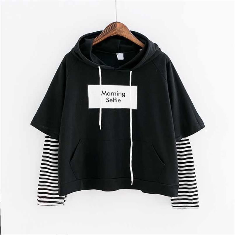 2020 neue Herbst-Frauen Sweatshirt Art und Weise Striped Sleeve Patchwork beiläufige Hoodies Baumwolle Frühling Kpop Harajuku EXO Kleidung