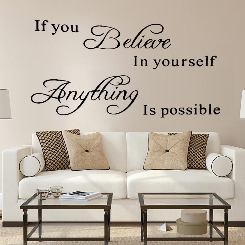 Cita si crees en ti mismo, cualquier cosa es posible POSIBLE Pegatinas de la Pared Familia para la sala de estar Mural Art Decor Decoración de las calcomanías