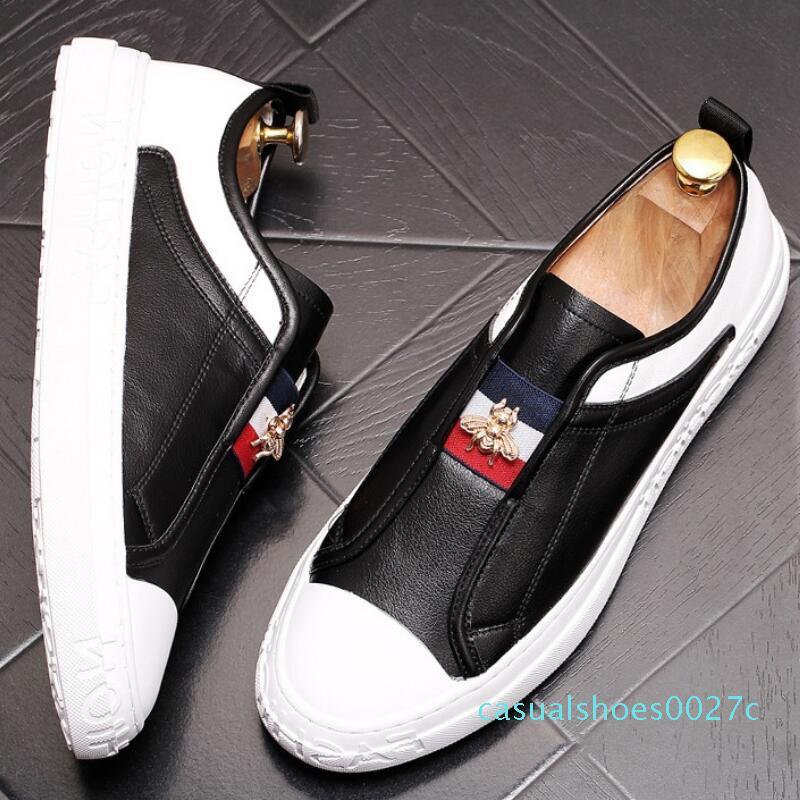 9Cowhide küçük beyaz ayakkabı mokasen ayakkabı eğlence tahta ayakkabılar yeni yumuşak tek ayakkabı stilist elastik kayış arı Star ayakkabıları C27