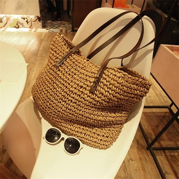 Women Straw Beach Bag Vogue Travel Holiday Vacation Leisure Handmade Woven New Tote Shopping Large Capacity Ladies Shoulder Bags Q1230