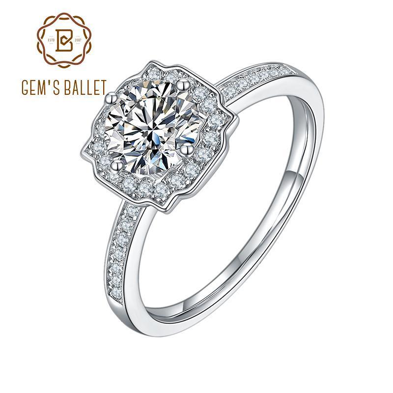 حلقات العنقودية جوهرة الباليه 1ct جولة مويسانيت حجر هالة الدائري للنساء 925 فضة الكلاسيكية الماس مجوهرات الزفاف الذكرى