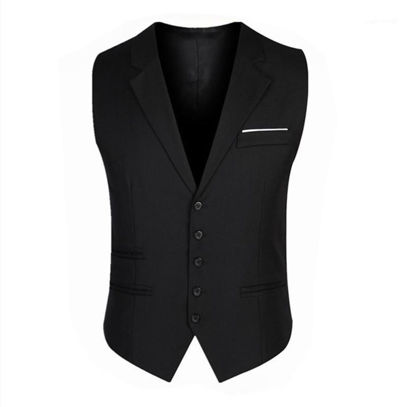 NUEVO Classtic Patchwork Negro Cuello Rayon Cuello de Rayón Chaleco para hombre Masculino Ropa de negocio Botón abierto Slim Slim Chalt1