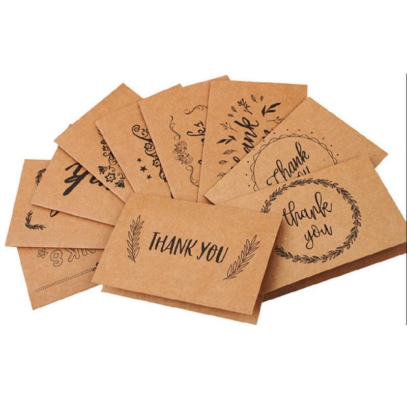 18 Стиль Пустой Спасибо Бумажные карты Примечание Конверты приветствия Свадьба Приемные ремесла