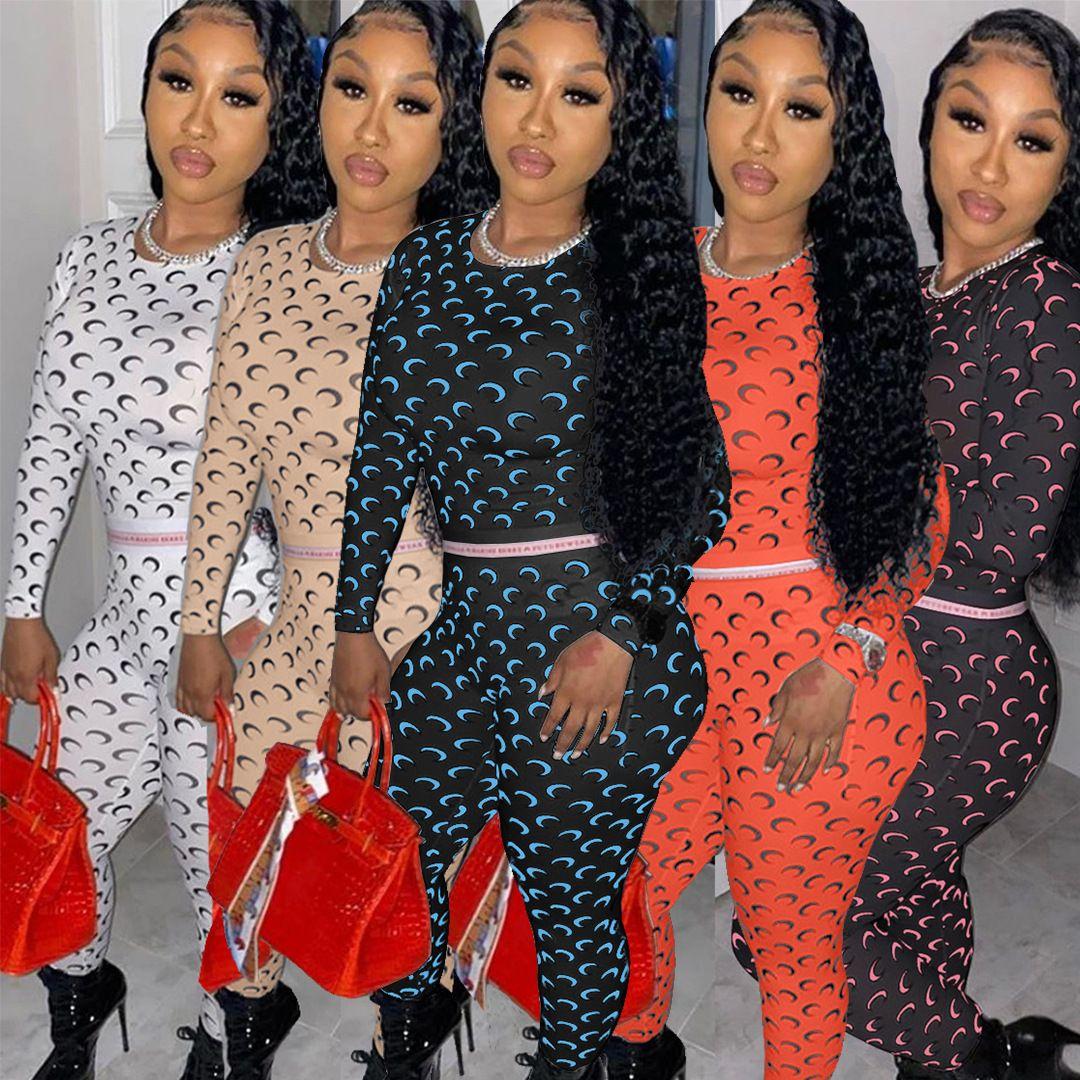 Mulheres Tracksuits 2 peças conjunto moda casual impresso bonito padrão manga longa camiseta pencli calças outfite senhoras lazer jogging roupas
