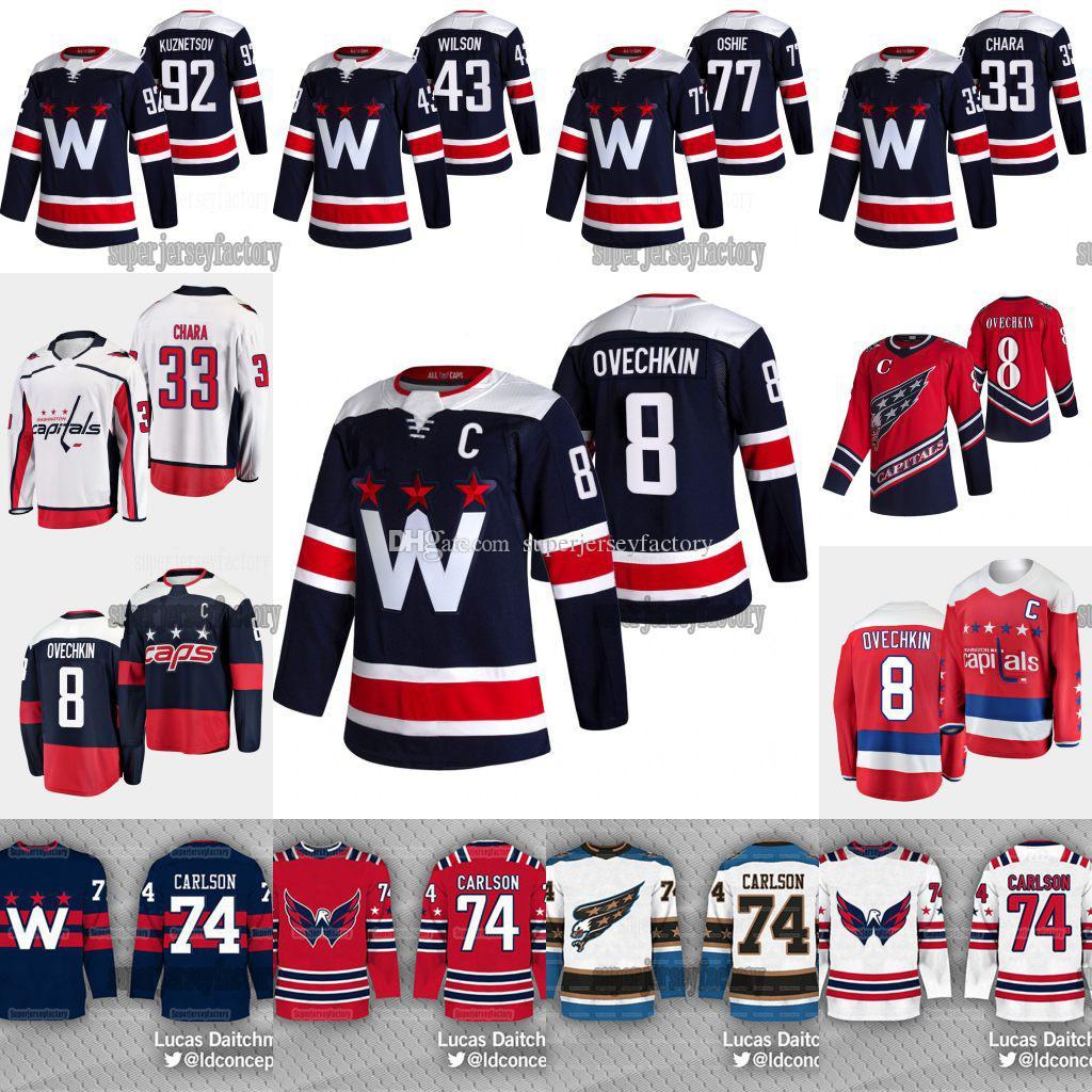 8 Alexander Ovechkin Washington Capitals 2021 Neue blaue dritte t.j. Oshie John Carlson Tom Wilson Jakub Vrana Chara Backstrom Kuznetsov Jersey