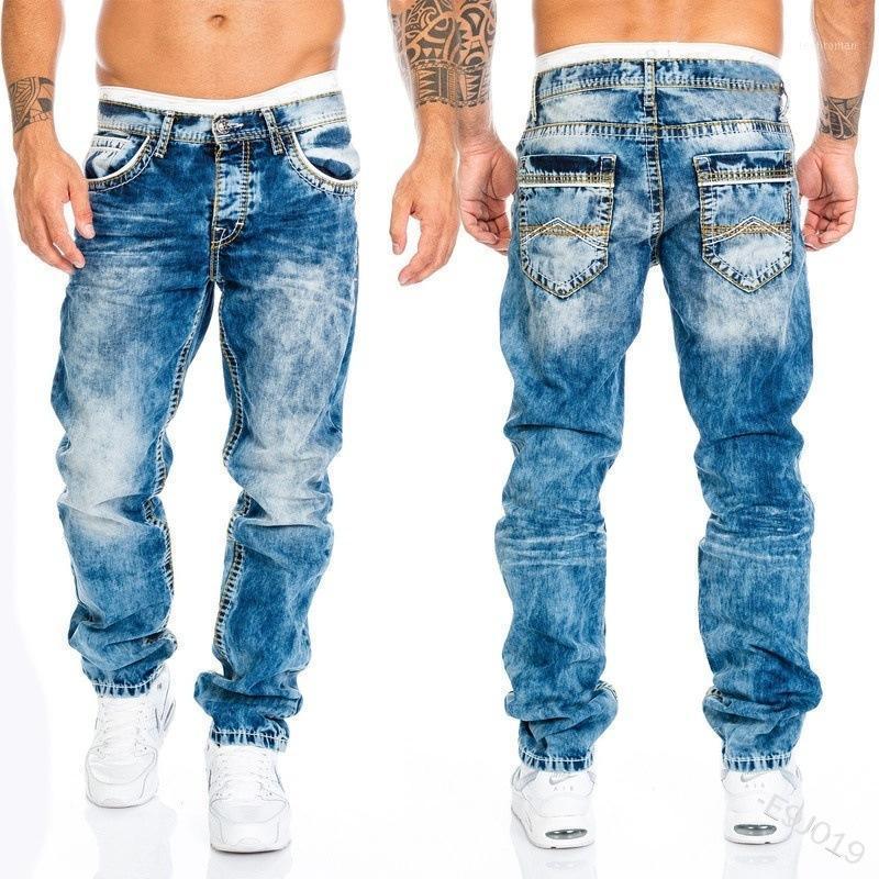 Мужские джинсы повседневные брюки брюки прямые хип-хоп джинсовые карманы на молнии кнопка мода летнее 1 мужская