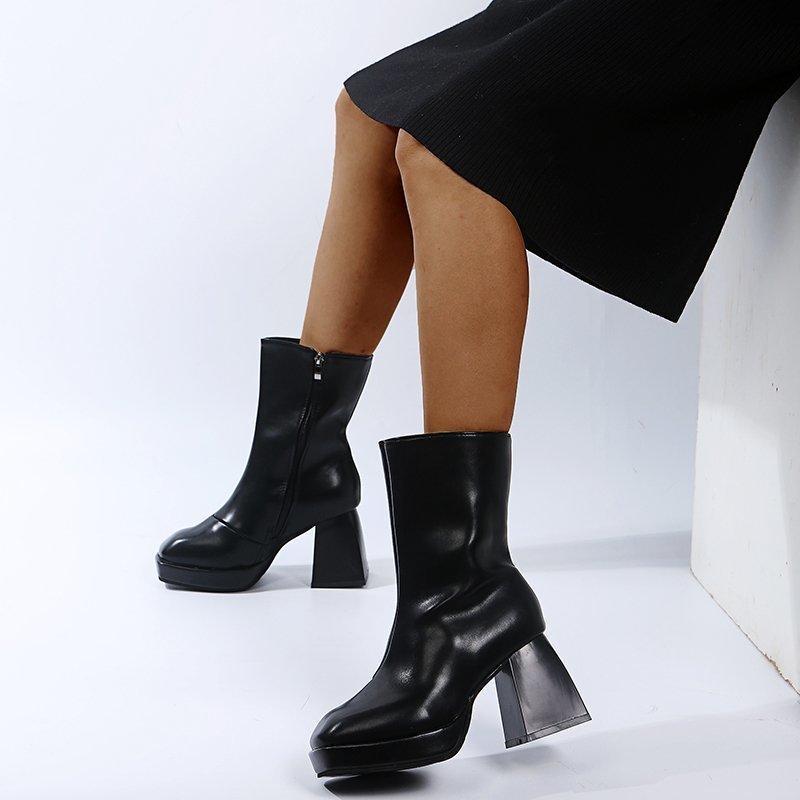 Outono Inverno 2020 mulheres botas de couro Platform grossas Salto Bombas Mais recente Shoes Night Club Salto da mulher Botas Mujer