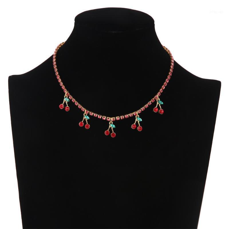 Collar de cereza de lujo 2020 CRISTAL RHINESTONE Gargantilla Collar para mujer Charm de verano Joyería de moda Hiphop Jewelry1