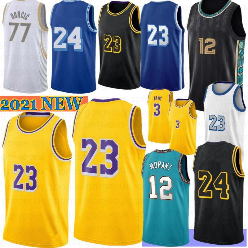 JA 12 Morant Los 23 Angeles Homens Basquete Jersey Anthony 3 Davis Kyle 0 Kuzma 34 8 32 New Retro Mesh 7 Kevin Kyrie 11 Durant 2021 Irving