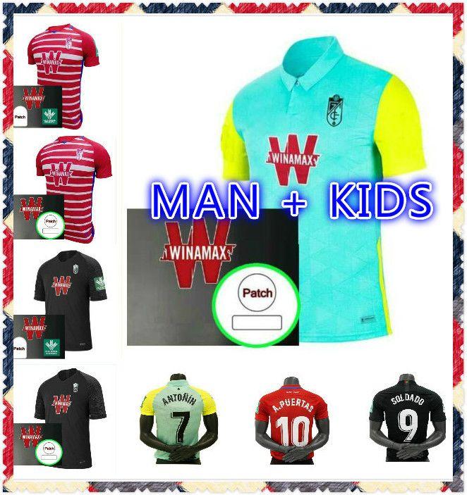 С патчами 2020 2021 Гранада Футбол Джерси 20 21 Soldado Fernandez Machis Puertas F.Vico Футбольная футболка Boys Azeez Herrera Mens Kids Kit