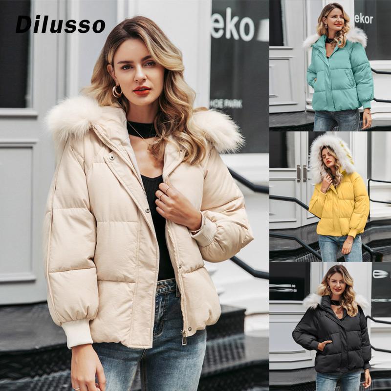 2020 Женщины зимняя большая меховая воротник пальто с длинным рукавом карманный карманный слой вскользь женщина с капюшоном мода твердые пальто # d3