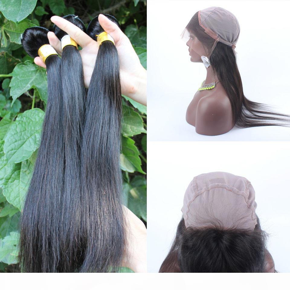 360 Frontal Brezilyalı saçlı Toptan İpeksi Düz örgüleri kapatma 360 Dantel Frontal ile insan saçı örgü demetleri