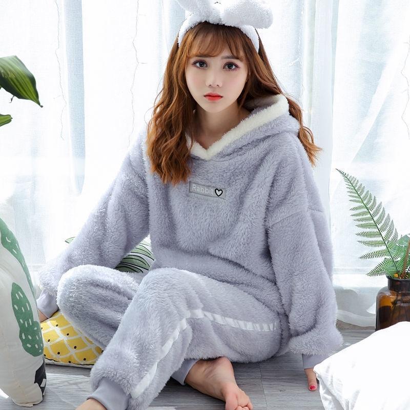 Inverno denso caldo flanella pigiama set per le donne Sleepwear Abbigliamento domestico PAJAMA HOME WET PIJAMAS Set Y200107