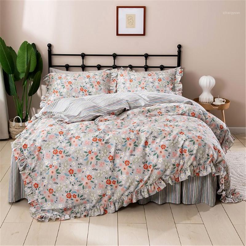 Fresco floral estilo pastoral volantes estilo lecho ropa de cama princesa pura algodón raya ropa de cama coupre encendido edredón cubierta
