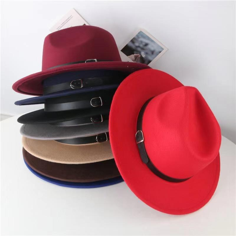 Factory INS New 7 Colors Fashion Hats Mother And Me Elegant Solid Adults Fedora Hat Band Flat Brim Jazz Hats Kids Panama Caps