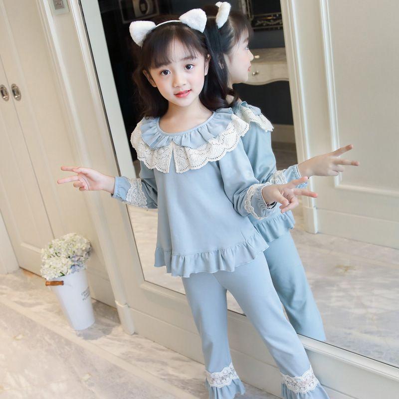 Niños Pijamas niños dormir ropa de algodón encaje largo manga larga ropa de hogar para niñas pijamas conjunto ropa para niños 201104