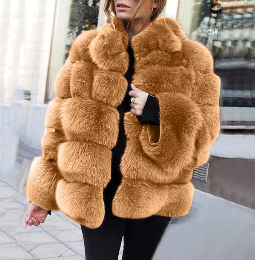 Europäische und amerikanische heiße Mode Faux Pelzfrauenmantel Nachahmung Fuchspelz Horizontal Nähte Kunstpelzmantel