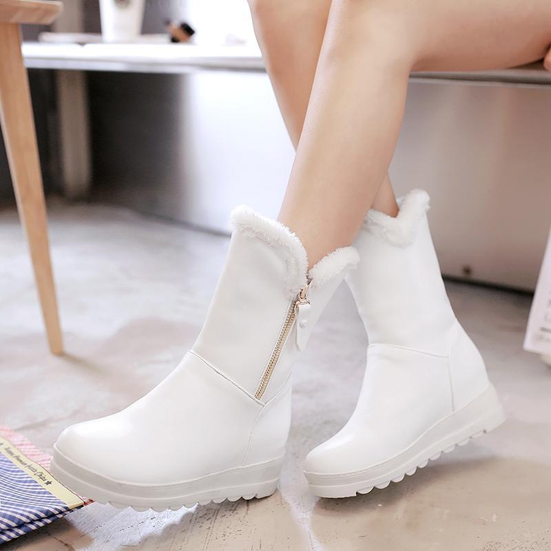 2020 Классических Женщины Зимних сапог Середина теленок Zipper Boots снег Женский теплая меховая Плюшевая Стелька высокого качество Botas Mujer Размер 34-43