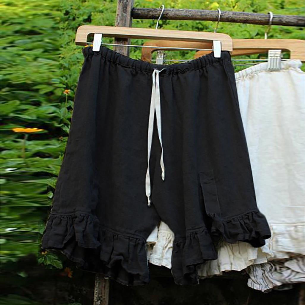 Mulheres Plue Tamanho Causal Sólidos linho cintura alta Shorts Tie Up solto Ampla perna curta perna larga cintura elástica com cordão Shorts