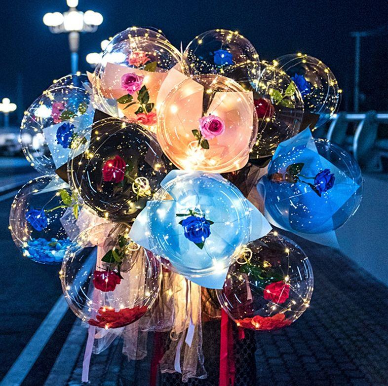 LED Aydınlık Balon Gül Buketi Şeffaf Kabarcık Büyülü Gül Ile Sopa LED Bobo Topu Sevgililer Günü Hediye Düğün Dekoru E121801