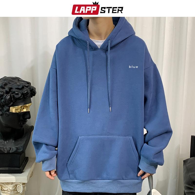 LAPPSTER Erkekler Nakış Fleece Kapşonlu Kapüşonlular 2020 Erkek Büyük Boy Kore Harajuku Tişörtü 7 Renk Siyah Büyük Boy Hoodie
