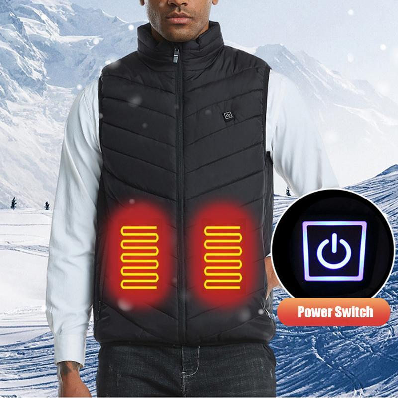 Männer Jacken 2021 Intelligente Selbstheizungsjacke Weste Baumwolle-gepolsterte Kleidung Solide Winter-warmes ärmelloses USB-Aufladung Männer Kleidung 8XL