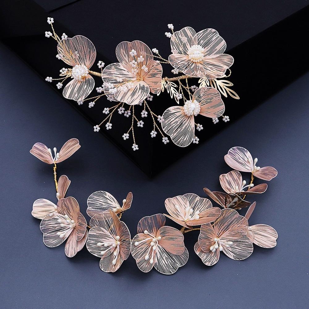 Handmade Copper Flower Bridal Headband Gold Wedding Tiara Soft Barrettes Pearl Headdress For Bride WIGO1472 W1224