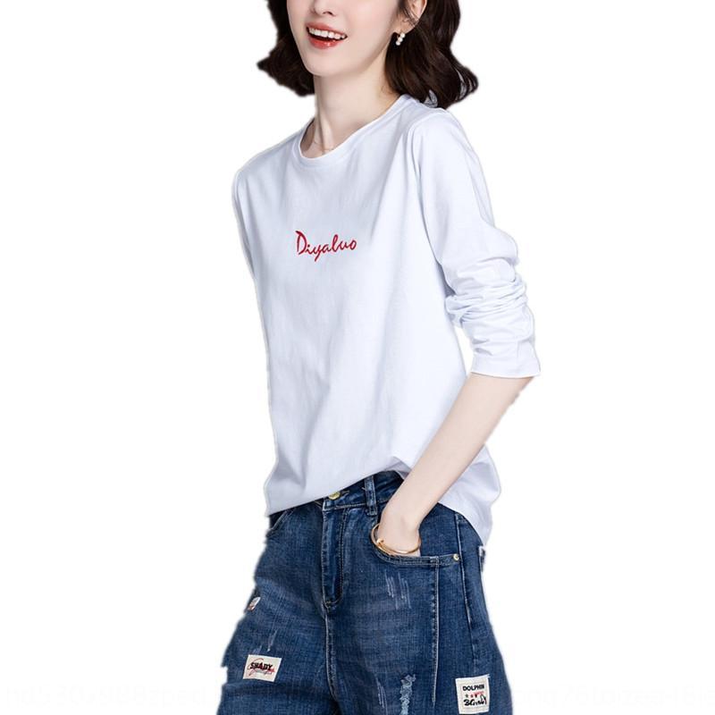 çok yönlü kadın kısa alçak İşlemeli shirtT-shirt gömlek için dibe ile kadınların ince uzun kollu için işlemeli Pamuk gevşek mektup