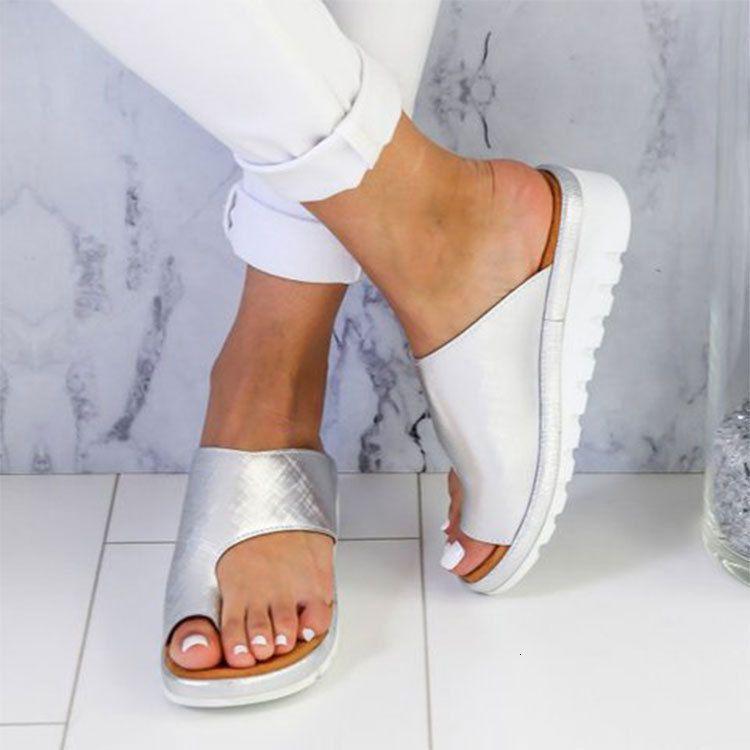 2021 L Slaytlar Için İlkbahar-Yaz Kadın Yeni Avrupa Tarzı ve Amerikan MS Döngü Toe Sandalet Plze