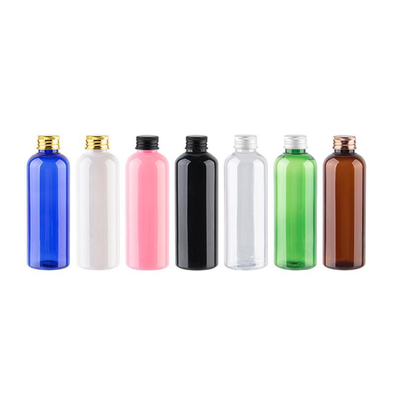 100 ml Bouteille vide 50pcs en plastique avec Or Argent Bronze Noir Aluminium bouchon à vis, shampooing lavage Flacons 3.4OZ