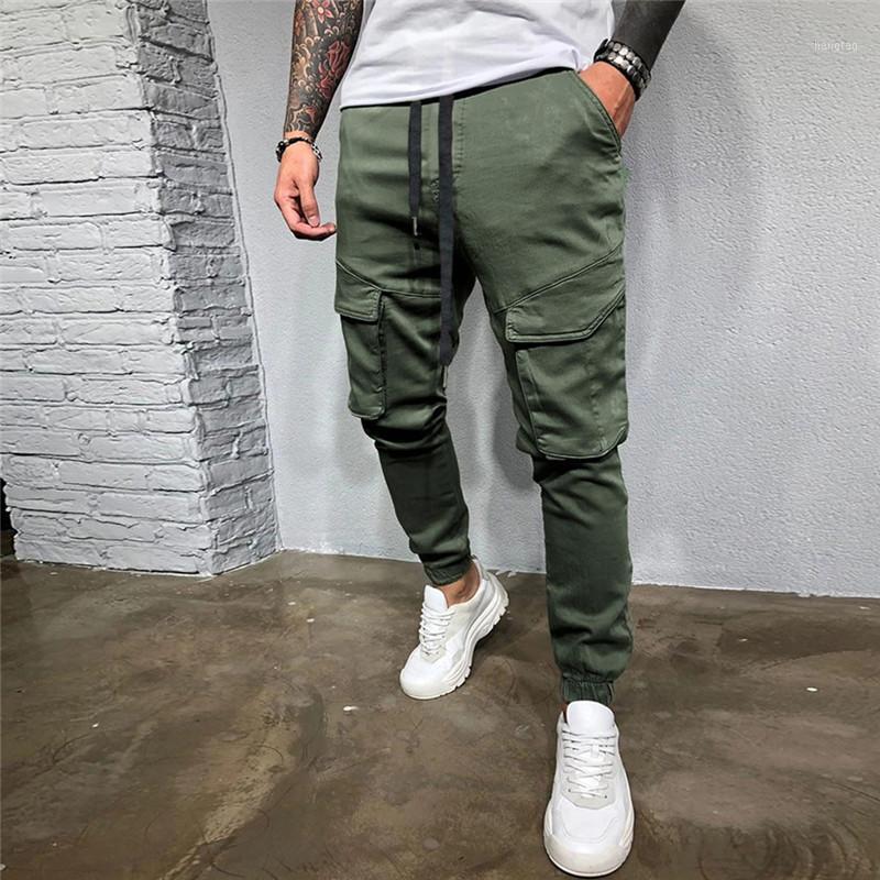 Pantalones para hombres Hombres Casual letra suelta con cordón sólido Cintura elástica Pantalones largos Hip Hop Pantalones Hombre Streetwear Pandpants1
