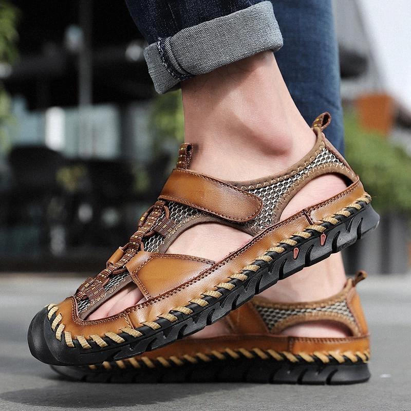 Бизнес повседневная мужская сандалии мужчины натуральная кожаная обувь ручной работы Швейное наружное мужское руку вышивание пляжа песчаные мужчины # 0q4o