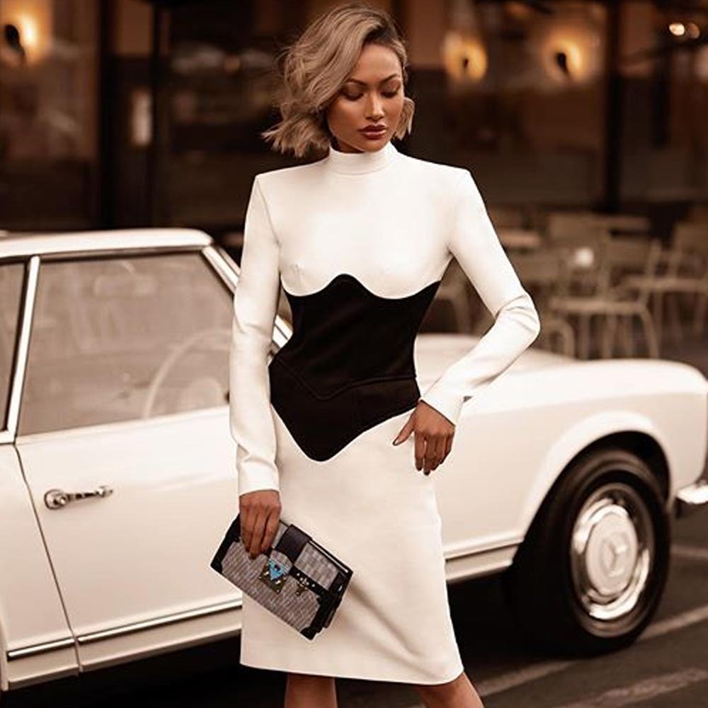 2021 La nuova Strade Bianco e Bianco Vestito in Nuovi Arrivi Donne Manica lunga Bandaggio Dress Dress Night Party CJVT