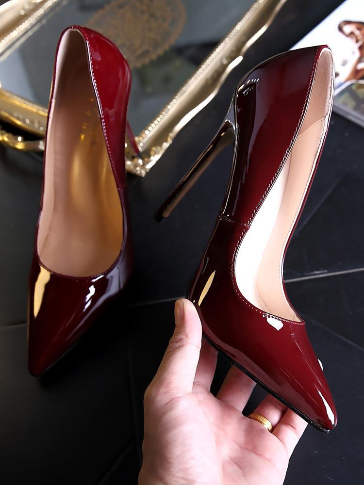 Mode Burgund 12cm Französisch hohe Absätze der Frauen Stöckelabsatz Lackleder 10CM spitz schwarz sexy Schuhe berufstätige Frauen