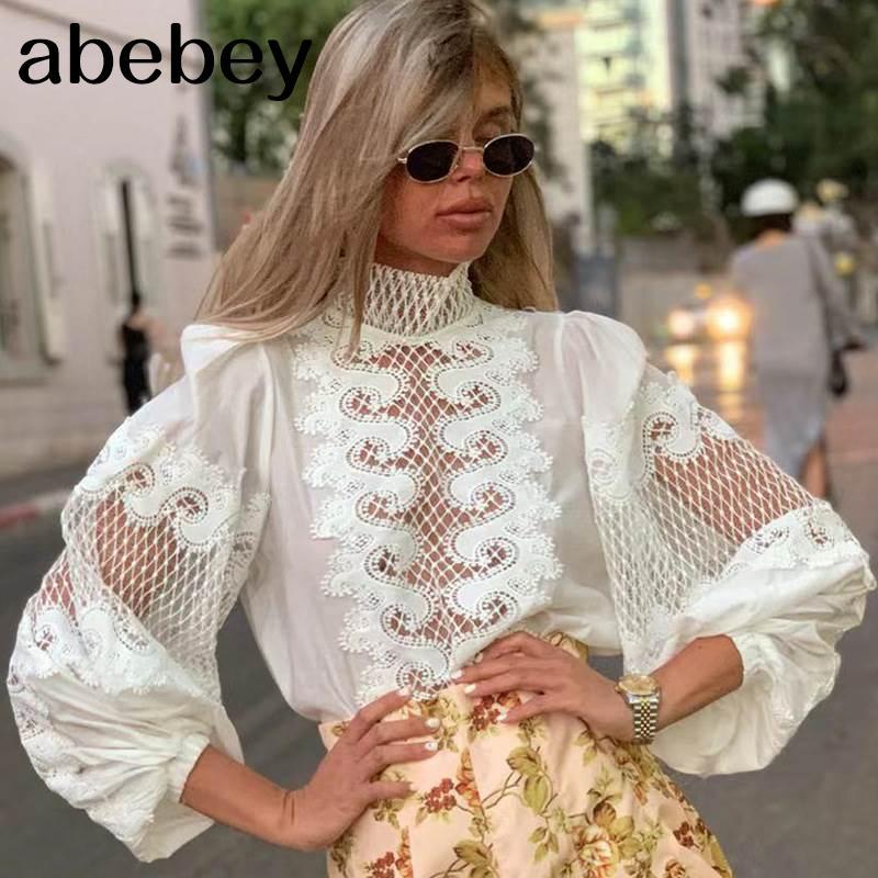 Beyaz Şık Nakış Kadın Gömlek Eşarp Yaka Fener Kol Kadın Gömlek Giyim Sonbahar Moda Yeni A1112