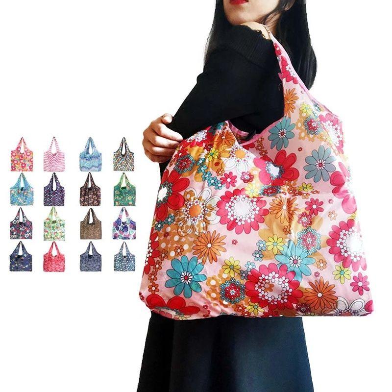 Многоразовая хозяйственная сумка складной из полиэстера Моющихся сумок Экологии сумки большой емкости, продуктовые сумки складной хозяйственной сумки тотализаторов