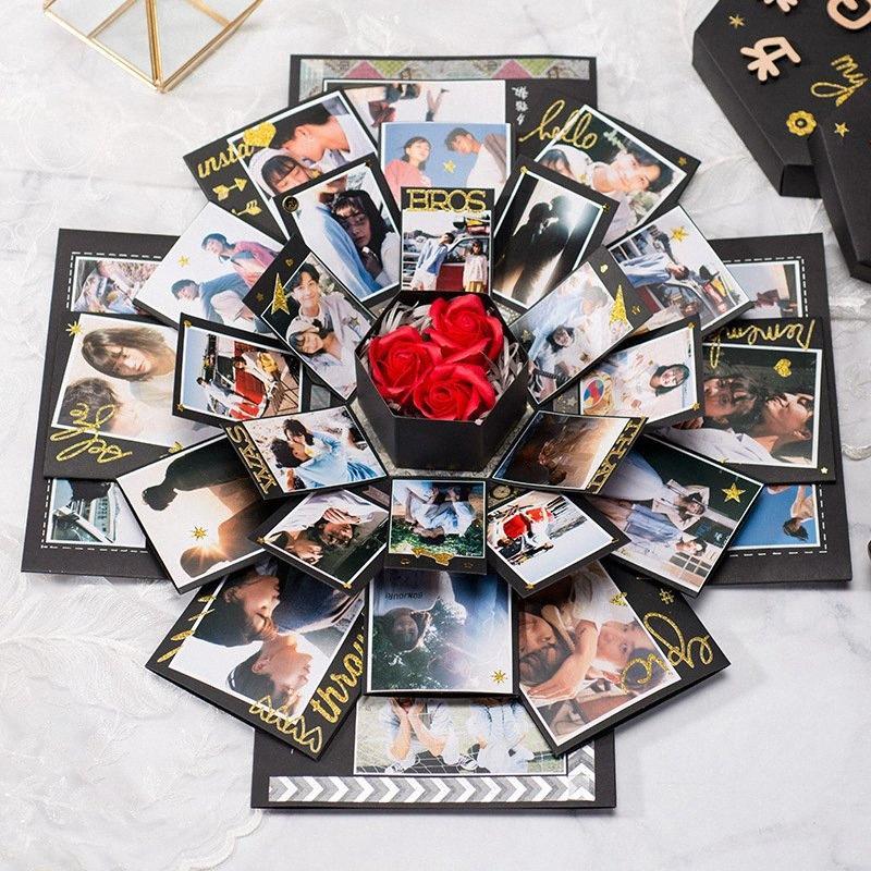 Siyah Altıgen Sürpriz Patlama Hediye Günümüze Kutusu İçin DIY Scrapbook Fotoğraf Doğum Yıldönümü Sevgililer Hediye Magic Box zxuK #