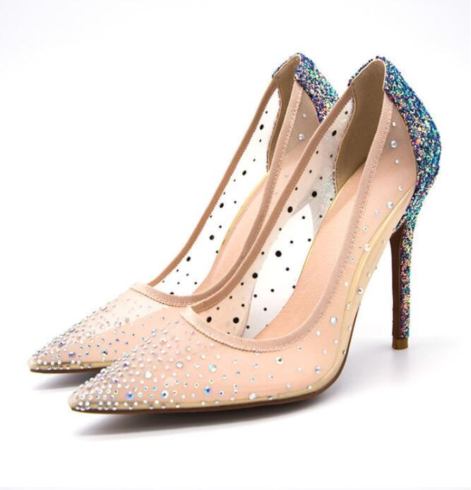 Foreign trade fashion quality mesh pointed slender high heel shoes ladies breathable low help cross-border plus-35 --42