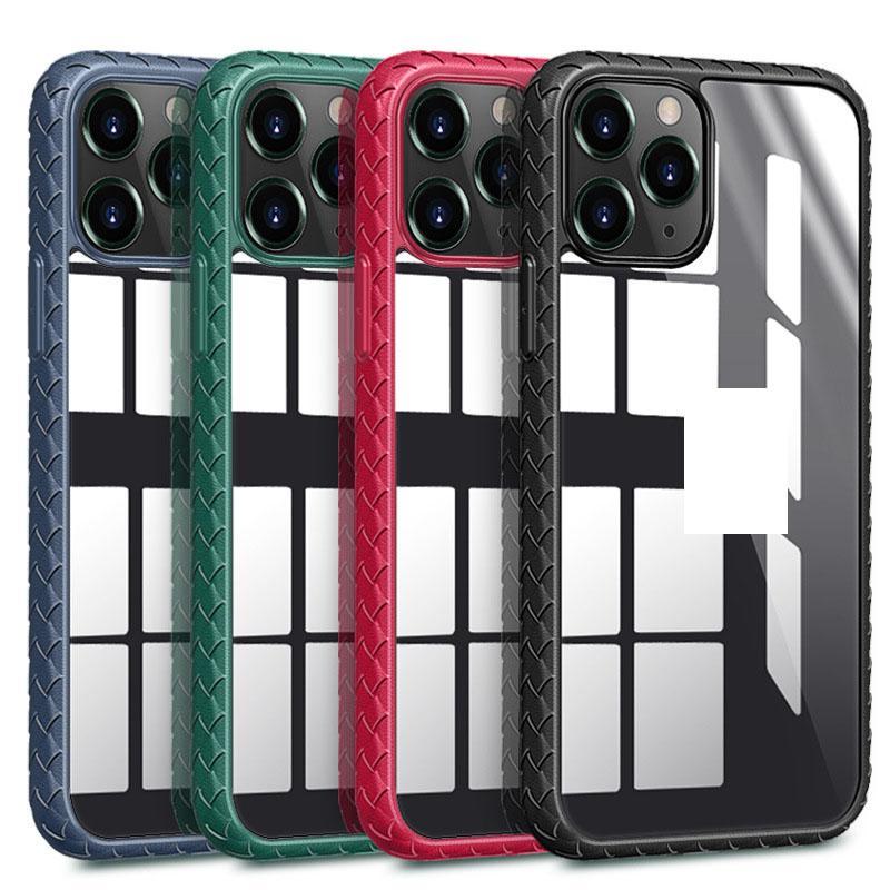 Flechten Transparente Telefonkasten für iphone 1211 pro max XR XS Max 8plus 8 7 Plus Shockprof hintere Abdeckung