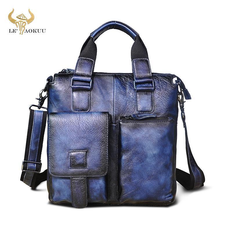 Laptop hombres cuero negocio azul bolsa B259 genuino maletín informal viaje de moda de moda accesorios Messenger bolso portafolio diseñador gtbtr