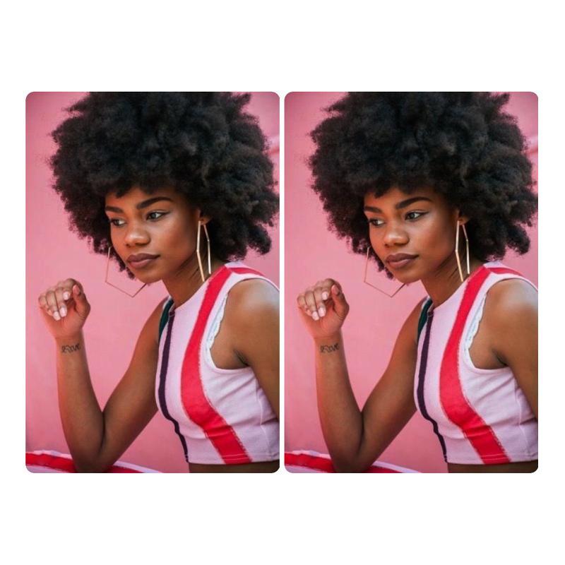 Afrikalı Amerikalı Lady Günlük Kısa Afro Kinky Kıvırcık Peruk Brezilyalı Remy Kıvırcık Peruk İçin Siyah Kadın Tam Makinası Peruk Siyah Renk Doğal arıyorsunuz