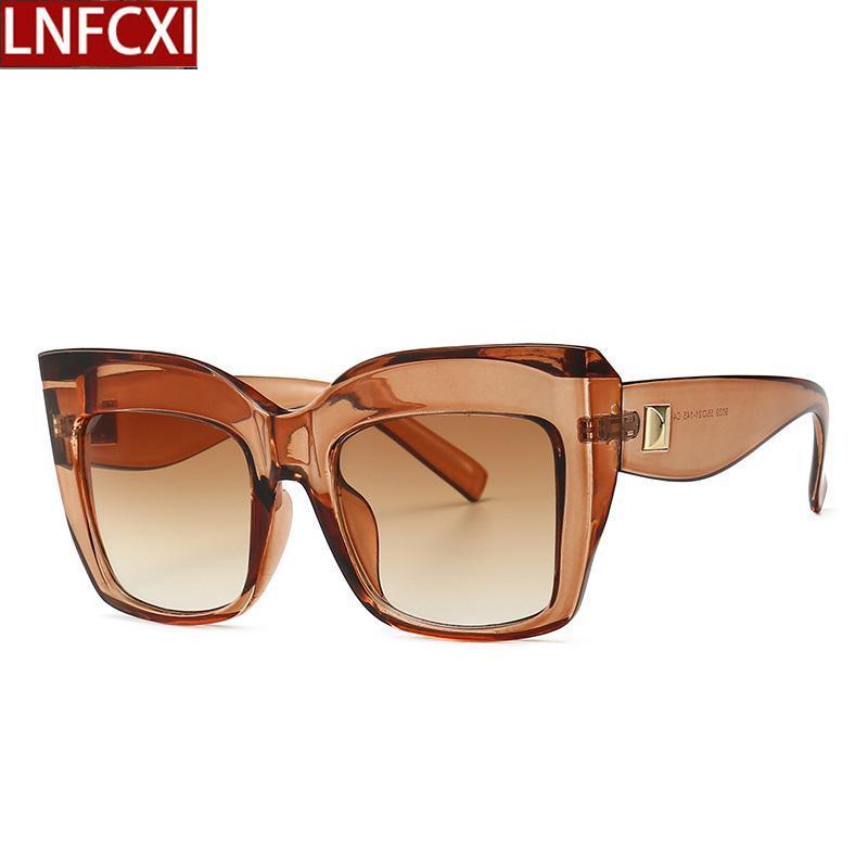 Shades Luxo Vintage Sunglasses Mulher Retro LNFCXI 2020 Praça Oversized das Mulheres para Mulheres Eyewear