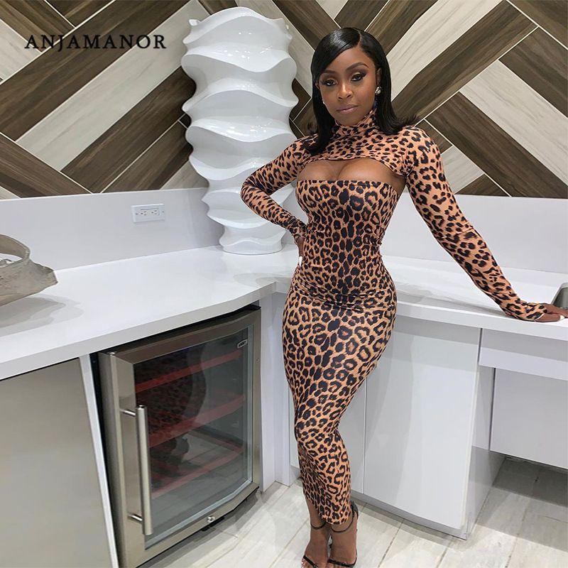Anjamanor Seksi Leopar Baskı Uzun Kollu Bodycon Maxi Elbise Yüksek Moda Bayan Giyim 2020 Kış Parti Kulübü Kıyafetler D85-CZ24 Y0118