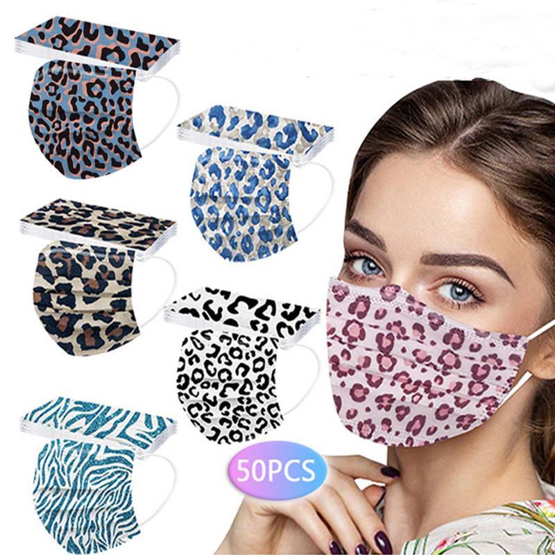 Auf Lager Designer Einweg Leopard Gesicht Masken Dame Geschenk Drucken Erwachsene 3-Lagen Schutz Gesundheitsmaske Gesicht Sanitärmasken Cocktail Bar Salon