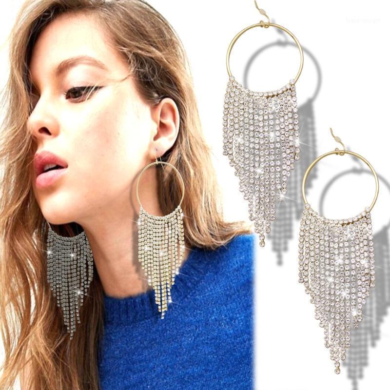 Sparkly Crystal Cascade Waterfall Long Tassel Gold Hoop Runway Baroque Drop Dangle Earrings Women Oorbellen Jewelry Orecchini1