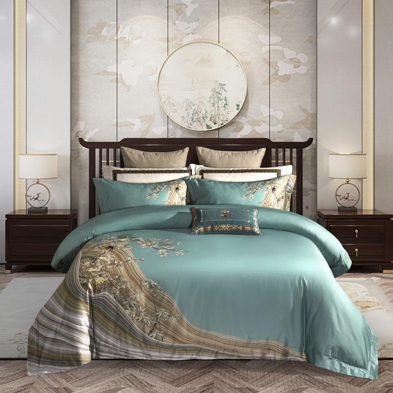 Ultra-Soft élégant Chinoiserie 4PCS Housse de couette drap de lit Set Oreiller 1000TC en coton égyptien de luxe Ensemble de literie Reine Roi Y1107