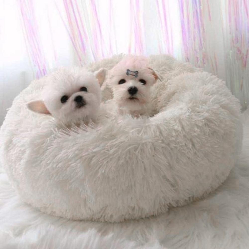 Super Soft Hundebett Runde Waschbar Langer Plüsch Hundehütte Katze-Haus Velvet Mats Sofa für Hund Chihuahua Katze Korb Haustier-Bett